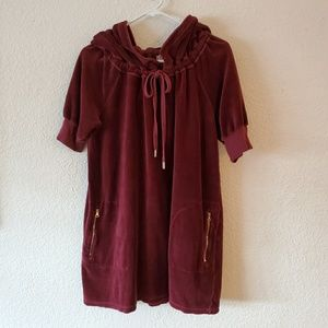 Juicy Couture Maroon Velour Pocketed Hoodie Dress